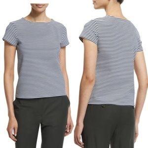 Theory Linen Striped Short Sleeve Shirt Tee Top